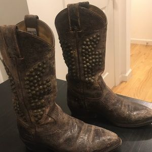 Frye studded western boots. As is. Used condition.
